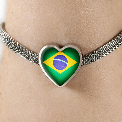 lottierocks:Brazil Flag Heart Charm Surgical Steel Bracelet