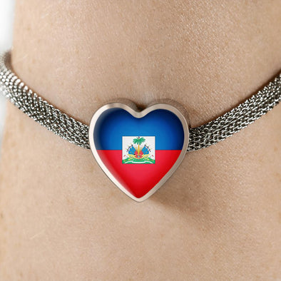 Haiti Flag Heart Charm Surgical Steel Bracelet - lottierocks