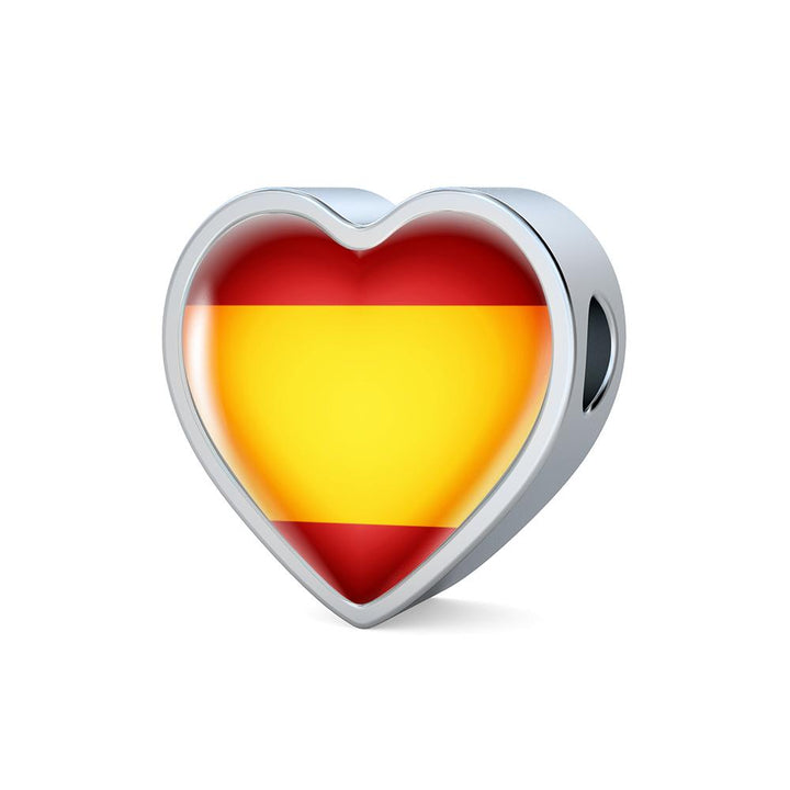 Spain Flag Heart Charm - lottierocks