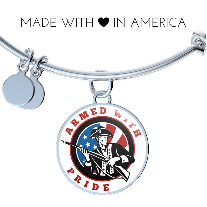 Patriot Armed With Pride Circle Pendant Bangle