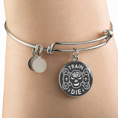Train Hard Or Die Circle Pendant Bangle - lottierocks