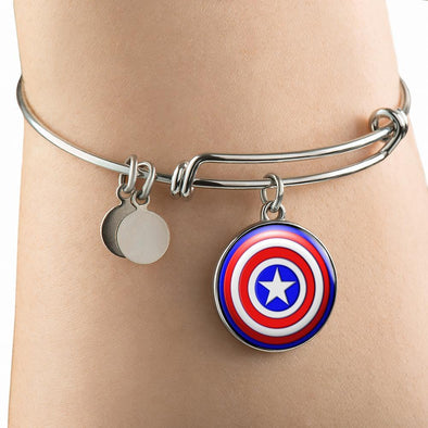 Captain America Circle Pendant Bangle