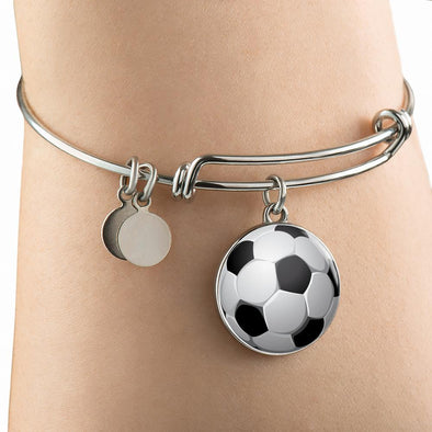 SoccerBall - FootBall 3D Circle Pendant Bangle - lottierocks