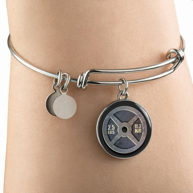 Weight Plate 2.5lbs Circle Pendant Bangle - lottierocks
