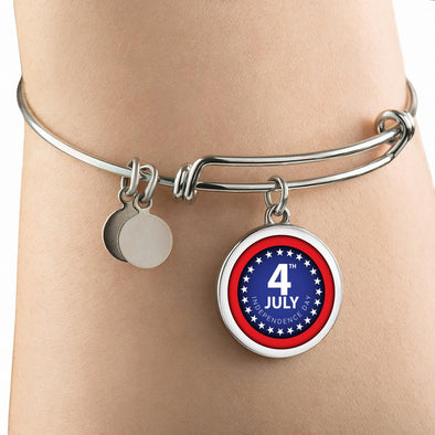 4th July Independence Day Circle Pendant Bangle