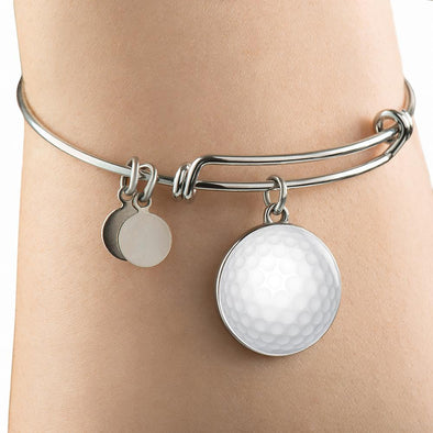 GolfBall 3D Circle Pendant Bangle - lottierocks