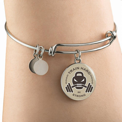 Train Hard Be Strong Circle Pendant Bangle - lottierocks
