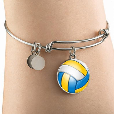 VolleyBall 3D Circle Pendant Bangle - lottierocks