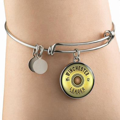 Winchester Shotgun Cartridge Circle Pendant Bangle - lottierocks