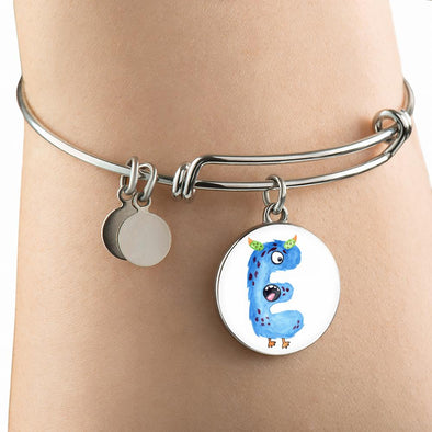 lottierocks:E - Monster HandPainted Letter Circle Pendant Bangle