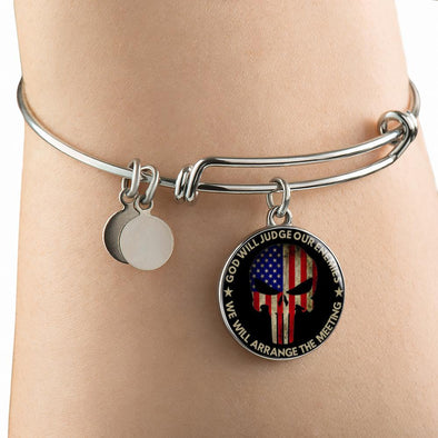 Punisher God Will Judge Our Enemies We Will Arrange The Meeting Circle Pendant Bangle