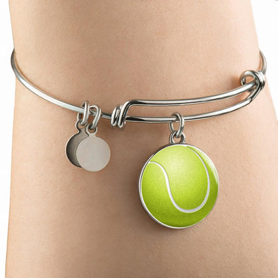 Tennis Ball 3D Circle Pendant Bangle - lottierocks