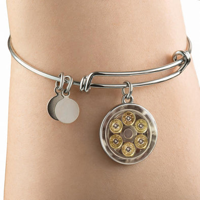 lottierocks:44 Mag Cylinder With Bullets Circle Pendant Bangle
