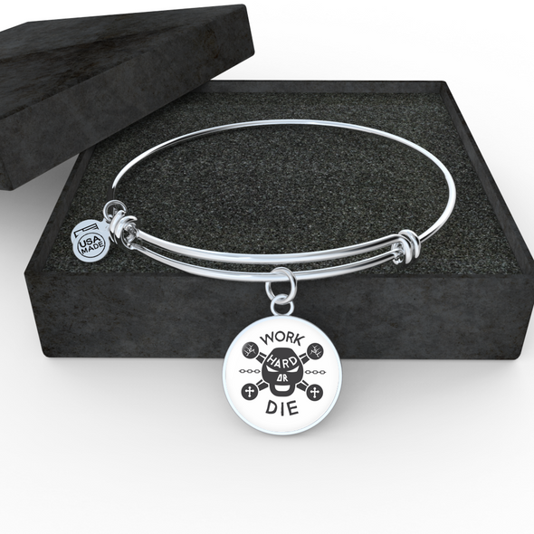 Work Hard Or Die Circle Bangle - lottierocks