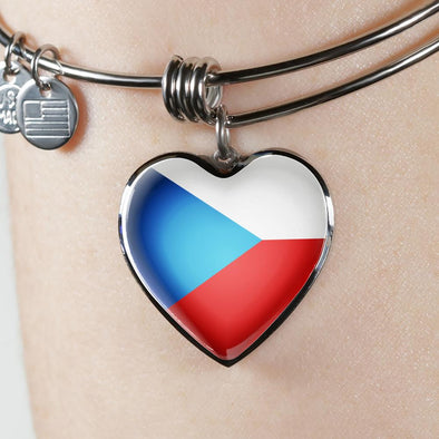 lottierocks:Czech Republic Flag Heart Pendant Bangle