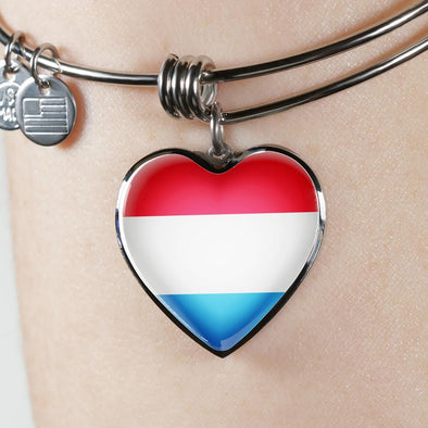 Luxembourg Flag Heart Pendant Bangle - lottierocks