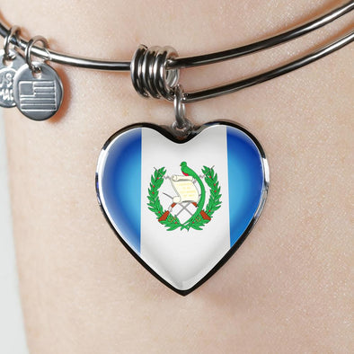 Guatemala Flag Heart Pendant Bangle - lottierocks