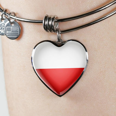 Poland Flag Heart Pendant Bangle - lottierocks