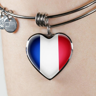 France Flag Heart Pendant Bangle - lottierocks