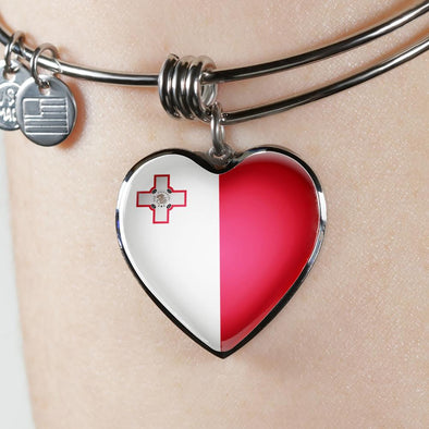 Malta Flag Heart Pendant Bangle - lottierocks