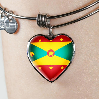 Grenada Flag Heart Pendant Bangle - lottierocks