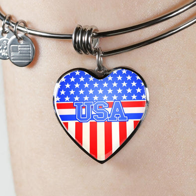 Team USA Heart Flag Heart Pendant Bangle - lottierocks