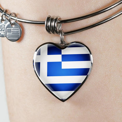 Greece Flag Heart Pendant Bangle - lottierocks