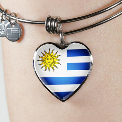 Uruguay Flag Heart Pendant Bangle - lottierocks