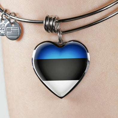 Estonia Flag Heart Pendant Bangle - lottierocks
