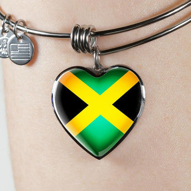 Jamaica Flag Heart Pendant Bangle - lottierocks