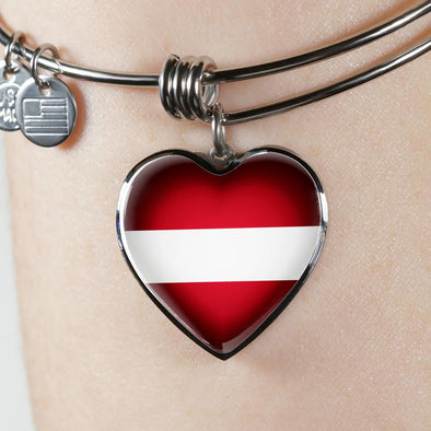 Latvia Flag Heart Pendant Bangle - lottierocks