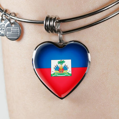 Haiti Flag Heart Pendant Bangle - lottierocks