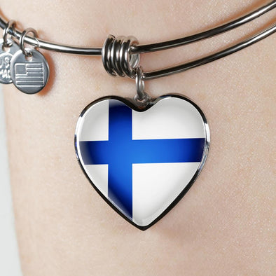 Finland Flag Heart Pendant Bangle - lottierocks
