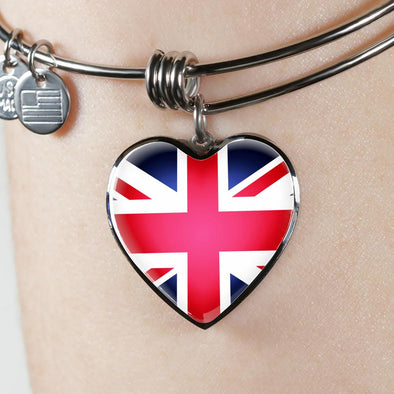 UK Flag Heart Pendant Bangle - lottierocks