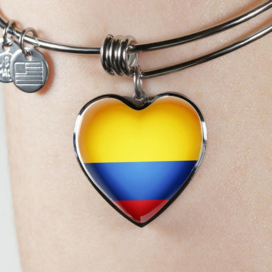 Ecuador Flag Heart Pendant Bangle - lottierocks