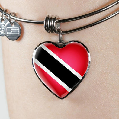 Trinidad Tobago Flag Heart Pendant Bangle - lottierocks