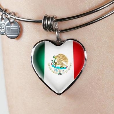 Mexico Flag Heart Pendant Bangle - lottierocks