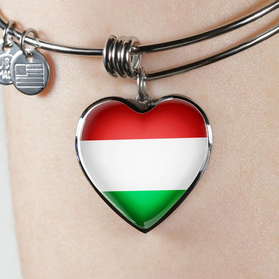 Hungary Flag Heart Pendant Bangle - lottierocks