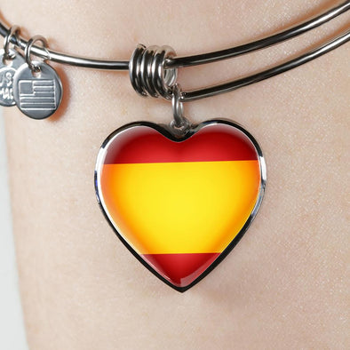 Spain Flag Heart Pendant Bangle - lottierocks