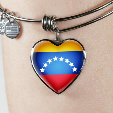 Venezuela Flag Heart Pendant Bangle - lottierocks