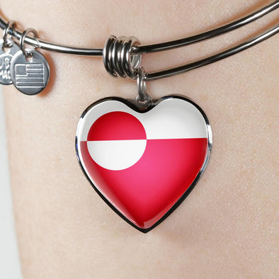 Greenland Flag Heart Pendant Bangle - lottierocks