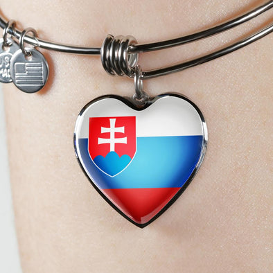 Slovakia Flag Heart Pendant Bangle - lottierocks