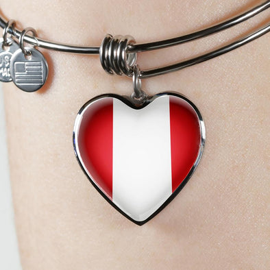 Peru Flag Heart Pendant Bangle - lottierocks