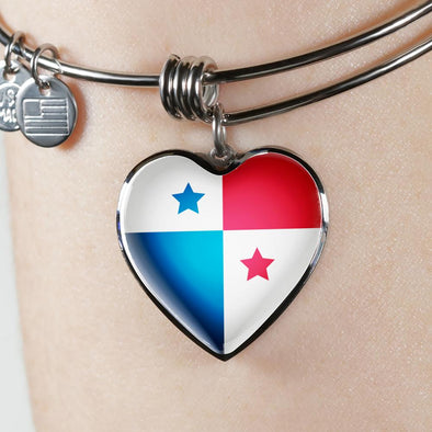 Panama Flag Heart Pendant Bangle - lottierocks