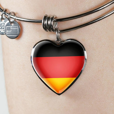 Germany Flag Heart Pendant Bangle - lottierocks
