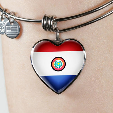 Paraguay Flag Heart Pendant Bangle - lottierocks