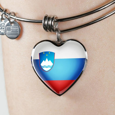 Slovenia Flag Heart Pendant Bangle - lottierocks