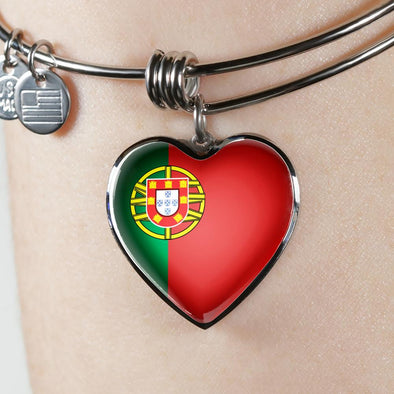 Portugal Flag Heart Pendant Bangle - lottierocks