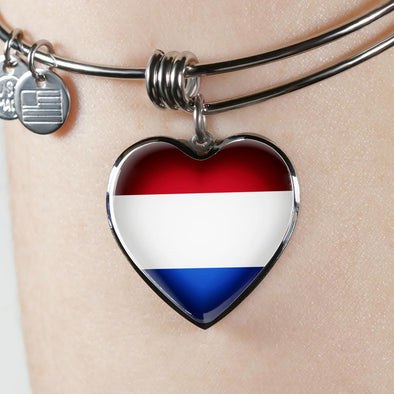 Netherlands Flag Heart Pendant Bangle - lottierocks