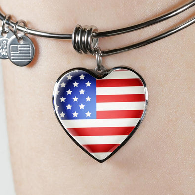 USA Flag Heart Pendant Bangle - lottierocks